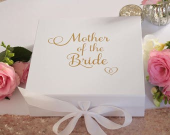 Mother of the Bride Gift Box, Wedding Thank You Keepsake Gift Box to fill with your own gifts.  Metallic gold, copper or Silver Text