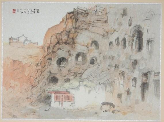 "Japanese antique print, Takeuchi Seihō, "" Datong old temple"""