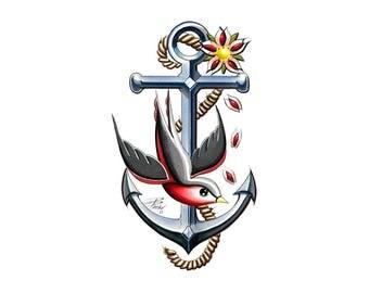 Large Anchor Tattoo - Temporay tattoo Marina Sailor Tattoo - Bird tattoo - Swallow Temporary Tattoo - Body Art for Men and Women