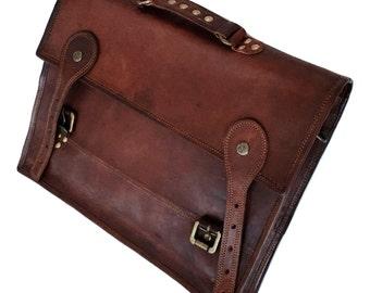 Custom Handmade 15'' 100% Classic III Genuine Leather Messenger Laptop Briefcase Sachel Bag