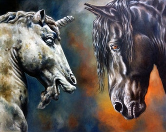 Ancient Tableau: Black Warrior oil painting of an Friesian Horse by Canadian Artist Kindrie Grove