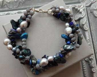 Statement Bracelet, Ruffle Bracelet, Pearl Bracelet, Pearl Earrings, Matching Statement Jewellery