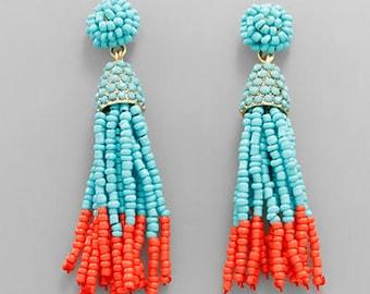 Turquoise & Coral Seed Bead Tassel Earrings