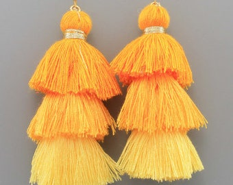 Yellow Ombre Layered Thread Tassel Earrings