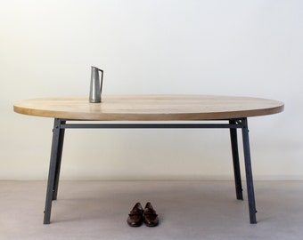 Oak/Steel INDUSTRIAL Oval Dining Table - seats up to six, rustic, vintage, chic, cafe, restaurant