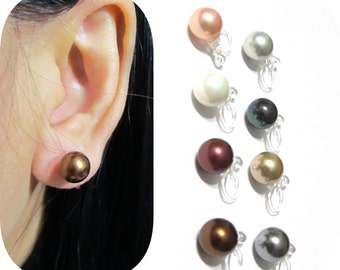 8mm MOP Pearl clip on earrings |10A| Bridal Clip On Earrings Wedding Clip Earrings Invisible Clip-ons Non Pierced magnetic earrings alternat