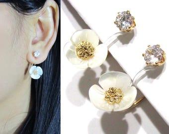 White Floral Clip-ons Ear Jacket Earrings  23B  Crystal Wedding Clip Earrings Non Pierced Bridal Clip on Earrings Flower Gold Clipon Earring