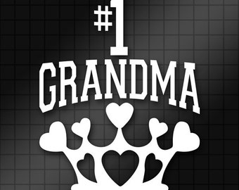 Number One Grandma Queen of Hearts Crown Vinyl Decal Sticker