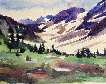 Mountain painting, North Cascades, Pelton Basin, watercolor landscape, mountains, Northwest, Pacific Northwest, wilderness, mountain art