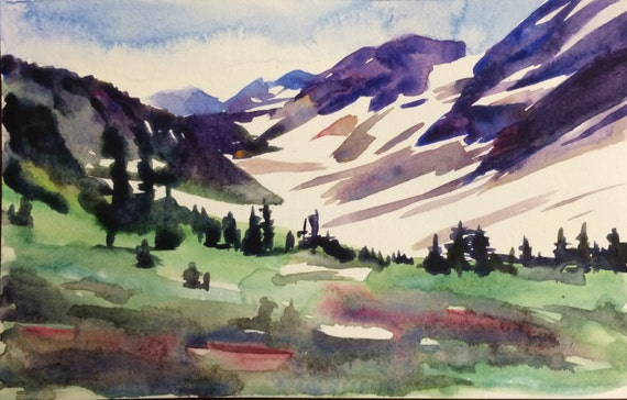 Mountain painting, North Cascades, Pelton Basin, watercolor landscape, mountains, Northwest, Pacific Northwest, wilderness, mountain art