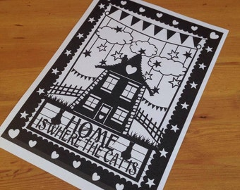 Home Is Where The Cat Is - Paper Cutting Template. Personal And Commercial Use PDF