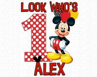 Mickey Birthday Polka Dot Iron On - Digital - You Print