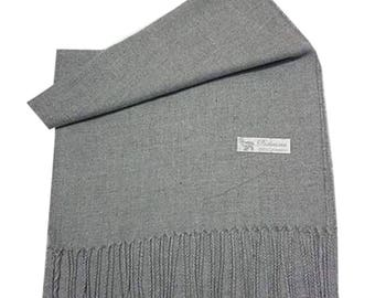Men Super Soft Cashmere Luxury Feel Scarf/Shawl For Day To Evening Occasions (Silver)
