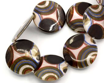 """Shell Loose Beads Circle Pattern Round Multicolor 30mm(1 1/8"""")"""