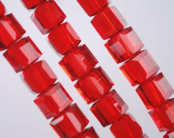 30PCs Red Glass Crystal Square Beads Crafts Accessories 7x7mm