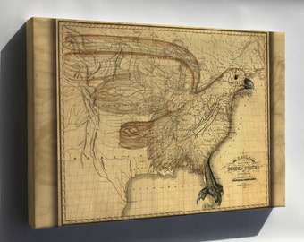 Canvas 24x36; Eagle Map Of The United States 1833