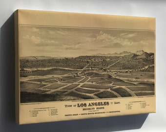 Canvas 24x36; Map Of Los Angeles California 1877