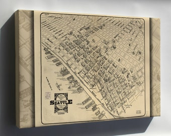Canvas 24x36; Map Of Main Business District Seattle 1903