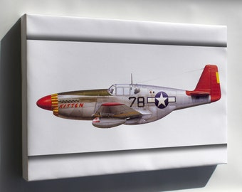 Canvas 24x36; P-51C Mustang Flown By Tuskegee Airmen