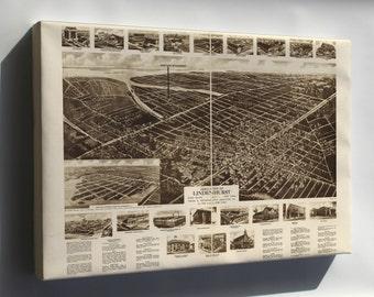 Canvas 24x36; Aero-View Map Of Lindenhurst, Long Island, 1926, New York