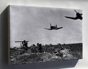 Canvas 24x36; Platoons Of Marines With F4U-1D Corsair Planes