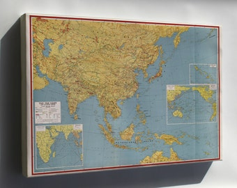 Canvas 24x36; Wwii Map Of Southeast Asia Japan China India 1943
