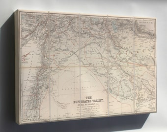 Canvas 16x24; Map Of Euphrates River Valley Israel Iraq 1900