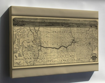 Canvas 16x24; Map Of Atchison Topeka And The Santa Fé Railroad 1880