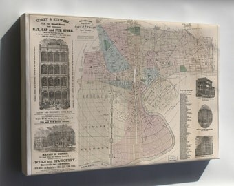 Canvas 16x24; Holbrook'S Map Of The City Of Newark, New Jersey 1875
