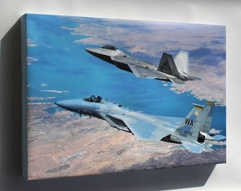 Canvas 16x24; F-22 Raptor And F-15 Eagle