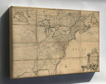 Canvas 16x24; Map Of North America Early United States  1776