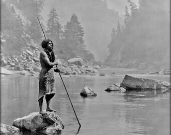 16x24 Poster; Hupa Indian Fishing Smoky Day At The Sugar Bowl--Hupa, C. 1923. Hupa Man With Spear