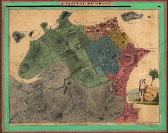 16x24 Poster; Map Of Rio De Janeiro Brazil 1831
