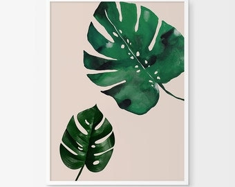 Monstera Leaf Printable Art, Tropical Monstera Leaf, Tropical Decor, Nature Photo, Green Decor, Plant Art, Botanical Print, Modern Wall Art