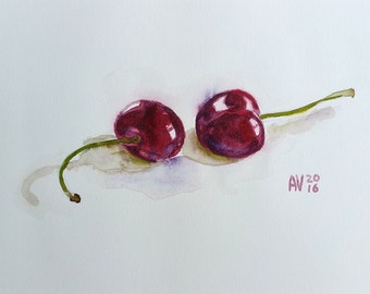 Red Cherries Original Watercolor Painting Still Life by Aleksey Vaynshteyn