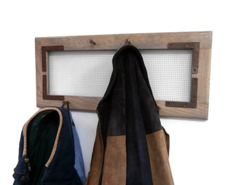 Urban Industrial Entryway Coat Rack With Hooks- Wall Coat Rack With Chicken Wire and Bolt Hooks-Man Cave Reclaimed Wood 5 Hook Coat Rack