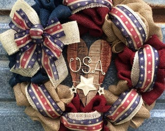 Patriotic Burlap Wreath - Americana Wreath - 4th of July Wreath - Memorial Day Wreath - Red White Blue Burlap Wreath - Summer Burlap Wreath