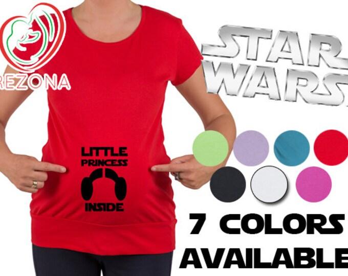 Little Princess Leia inside, Funny Star Wars Maternity, Pregnancy t-shirt. New Hope, Rogue One, Yoda, Darth Vader