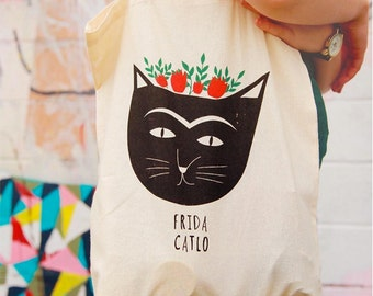 Frida Kahlo Cat Tote Bag