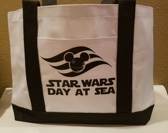 Disney Cruise Line DCL Inspired Boat Tote Black Star Wars Day at Sea Optional Personalization Fish Extender FE Gift