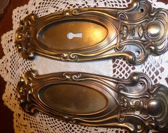 Vintage Victorian Art Deco/Nouveau Brass Pocket Door plates SET# 26