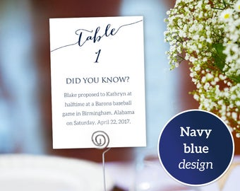 Fun Facts Table Numbers 1-40 Printable Templates, Table Seating Template, Did You Know Couple's Random Facts Table Cards Printable