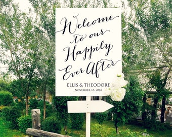 Welcome to Our Happily Ever After Sign, 18x24 Wedding Sign Instant Download, DIY Sign Printable, Wedding Reception Sign