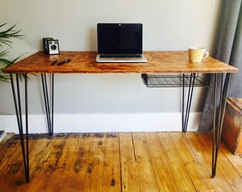 OSB desk with black steel hairpin legs and steel mesh pigeon hole