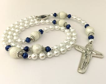 White Blue Rosary. Miraculous Medal Rosary. Schoenstatt Cross. White and Blue Catholic Rosary. Catholic Gift. Mothers Gift. #R113