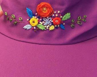 ROSES Purple Hat Embroidery Handmade