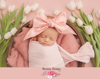 BLUSH SUGAR Gorgeous Wrap- headwrap; fabric head wrap; polka dot head wrap; boho; newborn headband; baby headband; toddler headband