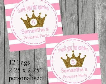 Personalized Birthday  Princess Party Favor Tags or Stickers – DIY Printable – Glitter Crown (Digital File)