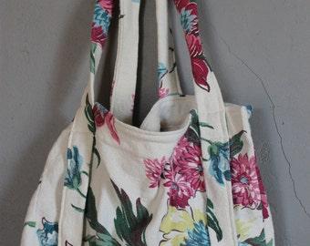 Vintage Bark Cloth Hand Bag