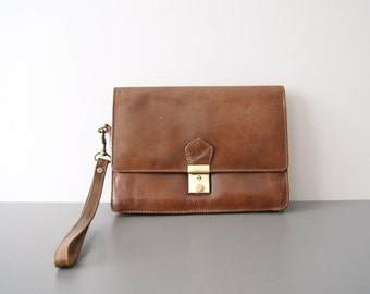 Wrist bag Leather Brown, leather bag, brown leather